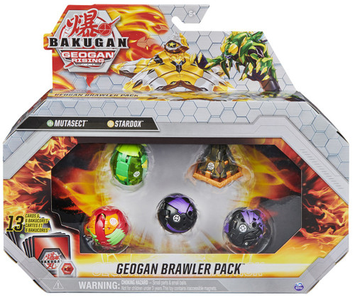 Bakugan Geogan Rising Brawler Pack Mutasect, Stardox, Dragonoid, Falcron & Fenneca 5-Figure Set