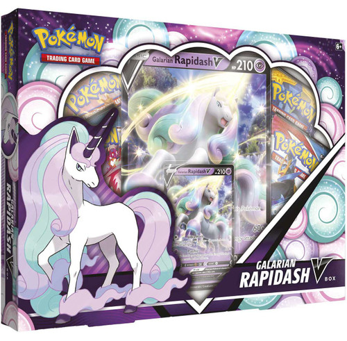 Pokemon Trading Card Game Galarian Rapidash V Box [4 Booster Packs, Promo Card & Oversize Card] (Pre-Order ships May)