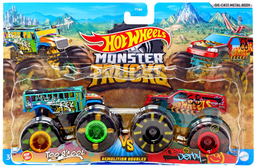 Hot Wheels Monster Trucks Demolition Doubles Too S'cool vs Dem Derby Diecast Car 2-Pack