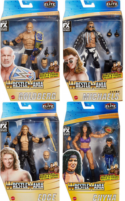 WWE Wrestling Elite Collection WrestleMania Goldberg, Shawn Michaels, Edge & Chyna Set of 4 Action Figures [Build Paul Ellering & Rocco!]