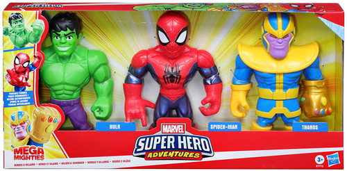 Marvel Super Hero Adventures Mega Mighties Hulk, Spider-Man & Thanos Action Figure 3-Pack