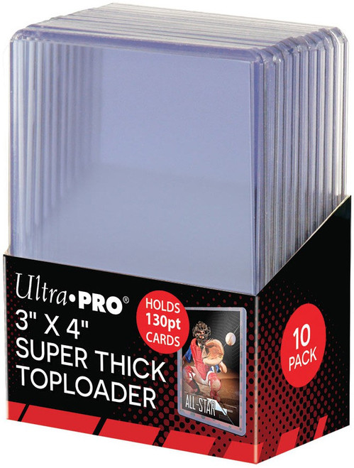 """Ultra Pro Card Supplies 3"""" X 4"""" Super Thick Toploader [10 Count, Holds 130pt Cards]"""