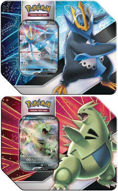 Pokemon Trading Card Game V Strikers Empoleon V & Tyranitar V Set of Both Tins (Pre-Order ships May)