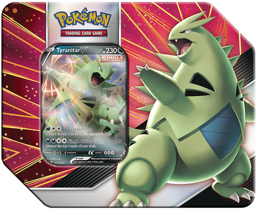 Pokemon Trading Card Game V Strikers Tyranitar V Tin Set [5 Booster Packs & Promo Card] (Pre-Order ships May)