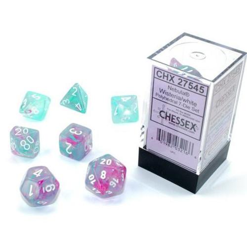 Chessex Nebula Wisteria & White Luminary Polyhedral 7-Die Dice Set #27545 [Glow-in-the-Dark]