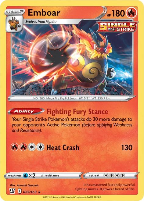 Pokemon Sword & Shield Battle Styles Holo Rare Emboar #25