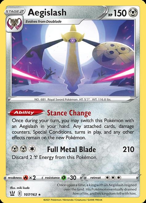 Pokemon Sword & Shield Battle Styles Holo Rare Aegislash #107