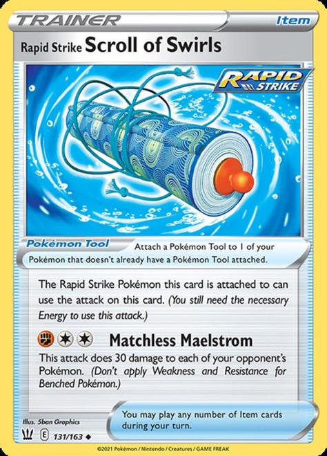 Pokemon Sword & Shield Battle Styles Uncommon Rapid Strike Scroll of Swirls #131