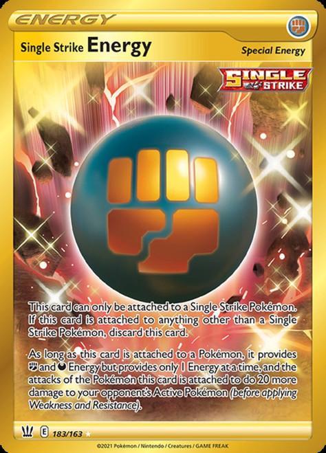 Pokemon Battle Styles Secret Rare Single Strike Energy #183