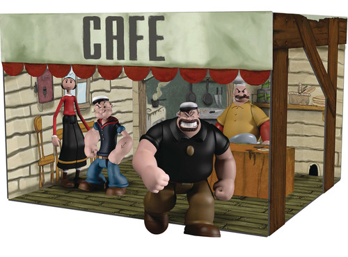 Popeye the Sailor Man 5 Points Popeye, Olive Oyl, Bluto, Rough House & Cafe Playset Deluxe Action Figure Boxed Set (Pre-Order ships September)
