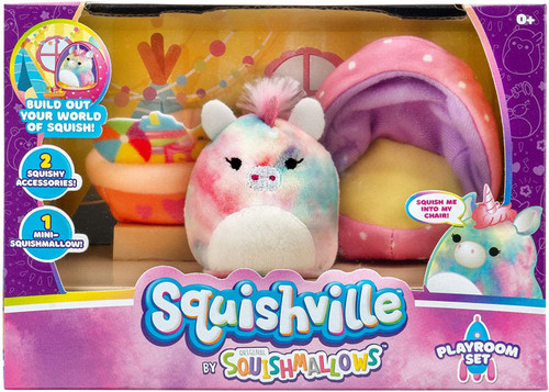 Squishmallows Squishville! Playroom Set 2-Inch Mini Plush Playset [with Esmeralda]