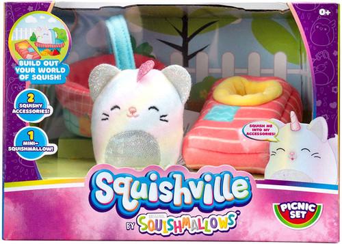 Squishmallows Squishville! Picnic Set 2-Inch Mini Plush Playset [with Camilla the Caticorn]