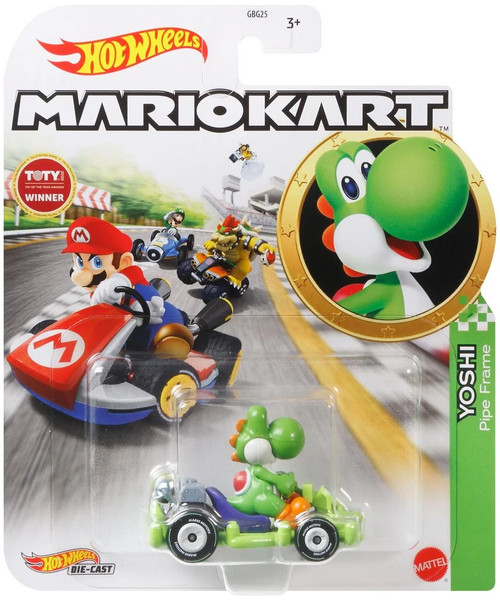 Hot Wheels Mario Kart Yoshi Diecast Car [Pipe Frame]