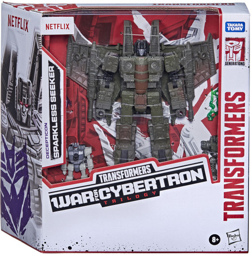 Transformers Generations War for Cybertron: Trilogy Sparkless Seeker Exclusive Voyager Action Figure 3-Pack [with Singe & Caliburst, Netflix Series Inspired] (Pre-Order ships October)
