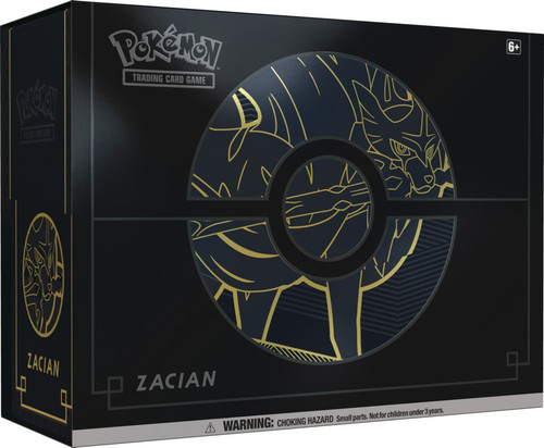 Pokemon Trading Card Game Sword & Shield Zacian Elite Trainer Box Plus [12 Booster Packs, 65 Card Sleeves, 6 Metal Damage Counter Dice & More]