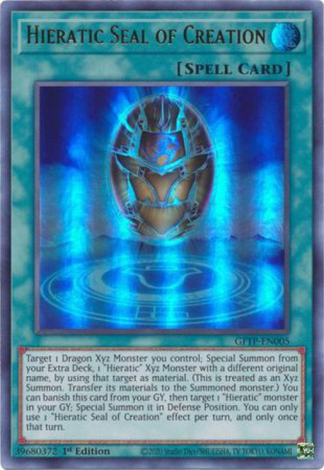 YuGiOh Ghosts From the Past Ultra Rare Hieratic Seal of Creation GFTP-EN005