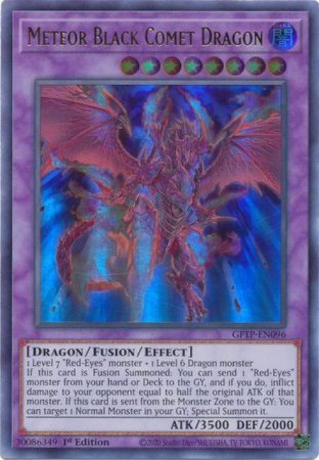 YuGiOh Ghosts From the Past Ultra Rare Meteor Black Comet Dragon GFTP-EN096