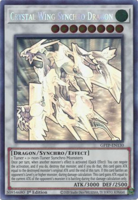 YuGiOh Ghosts From the Past Ghost Rare Crystal Wing Synchro Dragon GFTP-EN130