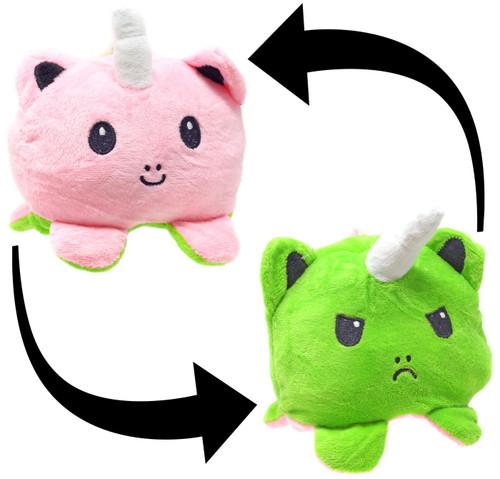 Reversible Plush Pink & Green Unicorn 4-Inch