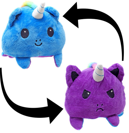 Reversible Plush Light Blue & Purple Unicorn 4-Inch
