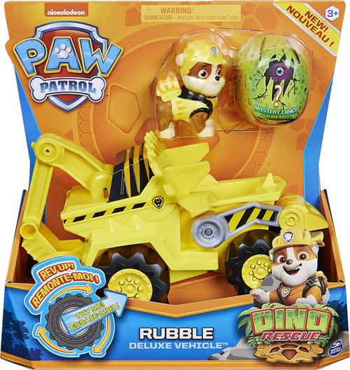 Paw Patrol Dino Rescue Rubble Deluxe Vehicle [Includes 1 Mystery Dino Figure!]