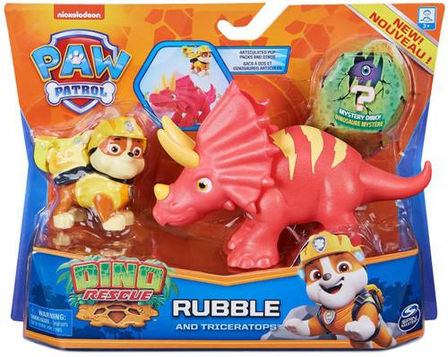 Paw Patrol Dino Rescue Rubble & Triceratops Figure Set