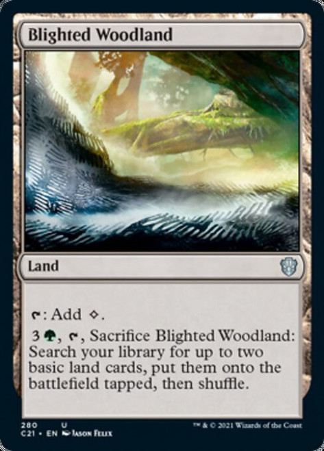 MtG Commander 2021 Uncommon Blighted Woodland #280
