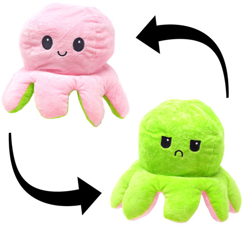 Reversible Plush Pink & Green Octopus 5-Inch