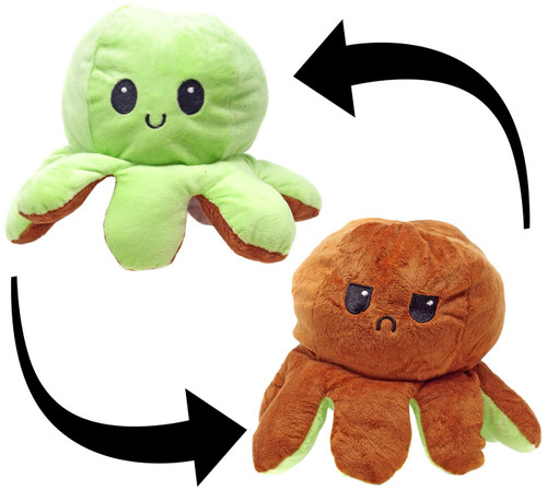 Reversible Plush Green & Brown Octopus 5-Inch