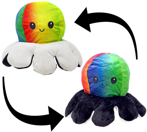 Reversible Plush Rainbow Octopus with Black & White Tentacles 5-Inch