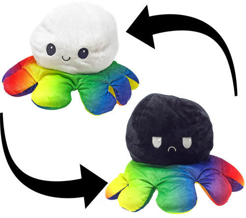 Reversible Plush Black & White Octopus with Rainbow Tentacles 5-Inch