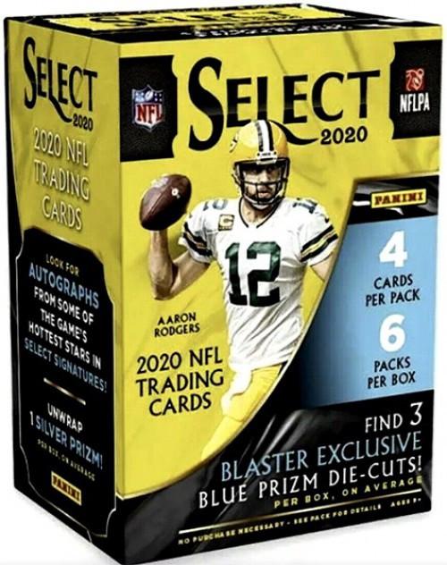 NFL 2020 Select Football Trading Card BLASTER Box [6 Packs, 3 Blue Prizm Die Cuts]