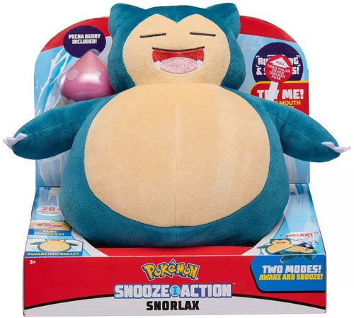 Pokemon Snooze Action Snorlax 10-Inch Plush [with Sound]
