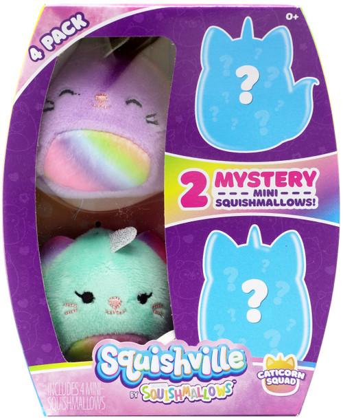 Squishmallows Squishville! Caticorn Squad 2-Inch Mini Plush 4-Pack Set