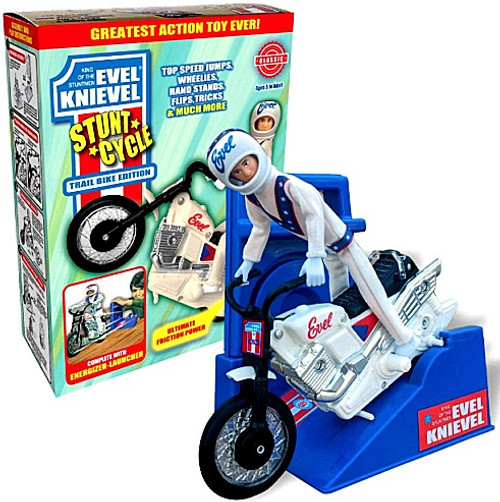 Evel Knievel Stunt Cycle Action Figure [Blue Launcher, White Bike] (Pre-Order ships July)