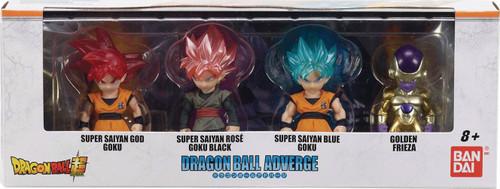 Dragon Ball Super Dragon Ball Adverge SS Blue Goku, SS Rose Goku Black and Golden Freiza 2.5-Inch Mini Figure 4-Pack