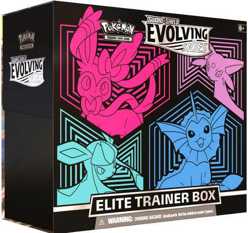 Pokemon Trading Card Game Sword & Shield Evolving Skies Vaporeon, Glaceon, Espeon & Sylveon Elite Trainer Box [8 Booster Packs, 65 Card Sleeves, 45 Energy Cards & More]