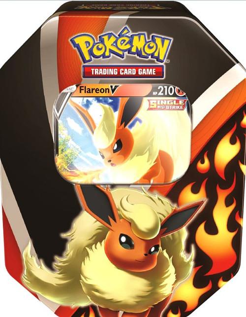 Pokemon Trading Card Game Eevee Evolutions Flareon V Tin [4 Booster Packs & Promo Card] (Pre-Order ships September)