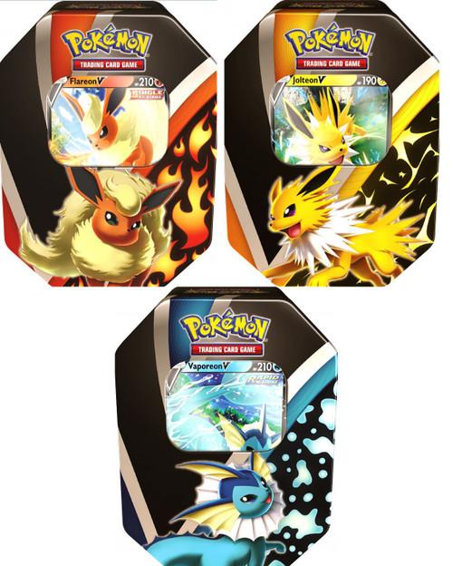 Pokemon Trading Card Game Eevee Evolutions Jolteon V, Flareon V & Vaporeon V Set of 3 Tins (Pre-Order ships September)