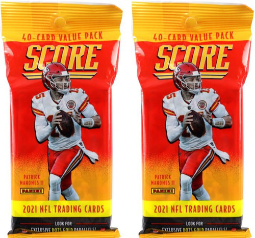 NFL 2021 Score Football LOT of 2 Trading Card CELLO Packs [40 Cards Per Pack]