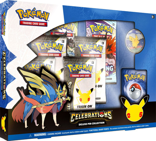 Pokemon Trading Card Game Celebrations Deluxe Pin Collection [4 Celebrations Booster Packs + 2 Additional Booster Packs, Foil Promo Card, Pin & More]