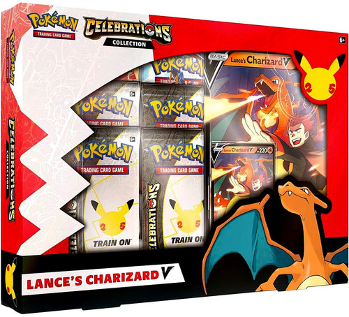 Pokemon Trading Card Game Celebrations Lance's Charizard V Collection Box [4 Celebrations Booster Packs + 2 Additional Booster Packs, Foil Promo Card, Oversize Card & More]