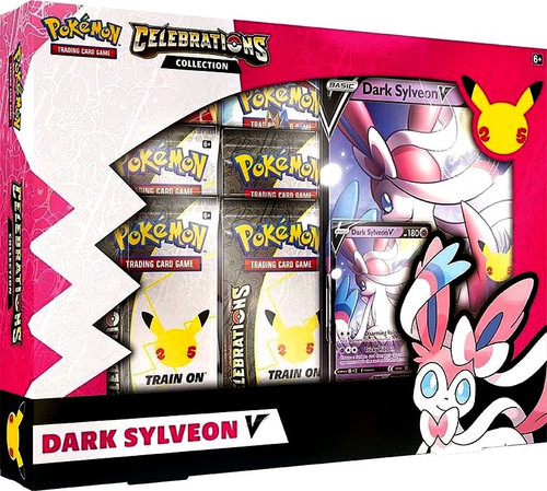 Pokemon Trading Card Game Celebrations Dark Sylveon V Collection Box [4 Celebrations Booster Packs + 2 Additional Booster Packs, Foil Promo Card, Oversize Card & More]