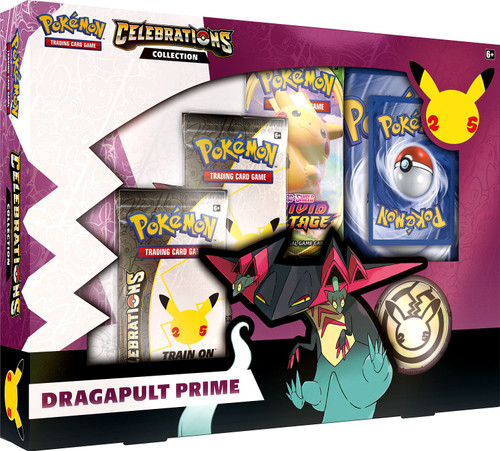 Pokemon Trading Card Game Celebrations Dragapult Prime Collection Box [2 Celebrations Booster Packs + 1 Additional Booster Packs, Foil Promo Card, Oversize Card, Coin & More]