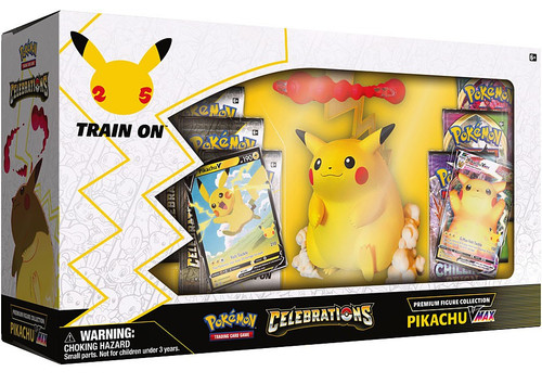 Pokemon Trading Card Game Celebrations Pikachu V Max Premium Figure Collection [8 Celebrations Booster Packs + 3 Additional Booster Packs, 2 Foil Promo Cards, Supersize Figure & More]