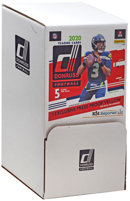 NFL Panini 2020 Donruss Football Trading Card GRAVITY FEED Box [48 Packs, 1 Press Proof Yellow]