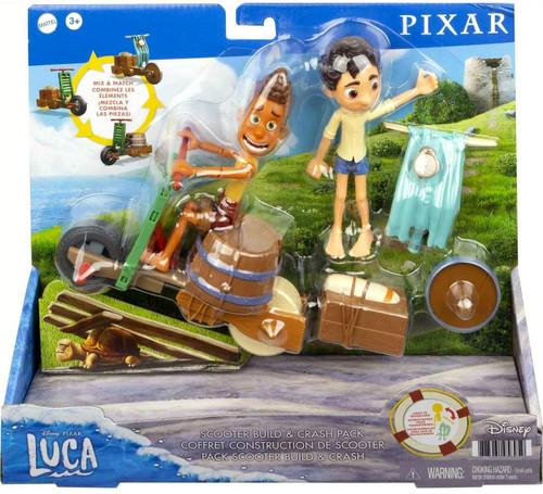 Disney / Pixar Luca Scooter Build & Crash Pack Figure Set