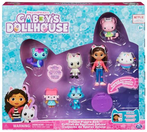 Gabby's Dollhouse Gabby, Pandy Paws, Baby Box Cat, MerCat, Kitty Fairy, Cakey Cat & CatRat 7-Piece Deluxe Figure Set