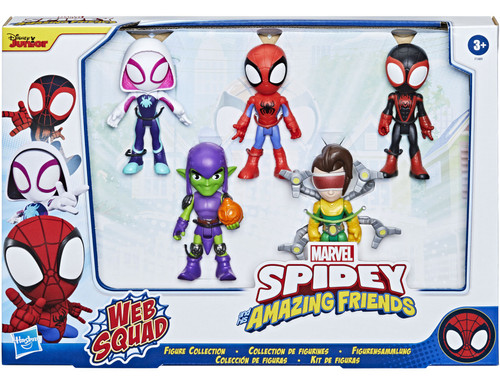 Marvel Spidey & His Amazing Friends Web Squad Ghost-Spider, Spidey, Miles Morales, Green Goblin & Doc Ock Action Figure 5-Pack