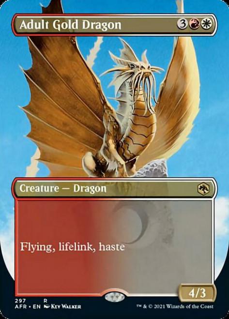 MtG Adventures in the Forgotten Realms Rare Adult Gold Dragon #297 [Alternate Art Borderless FOIL]